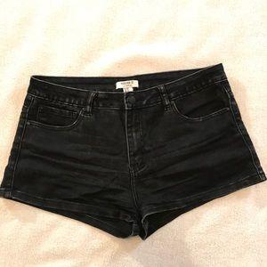 Black denim booty shorts